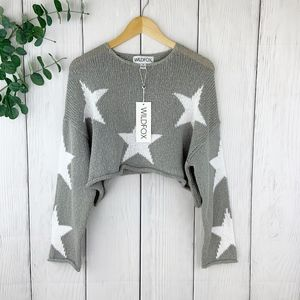 NWT! Wildfox Star-Print Cropped Sweater